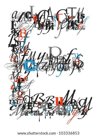 Letter E Alphabet Different Font Letters Stock Illustration