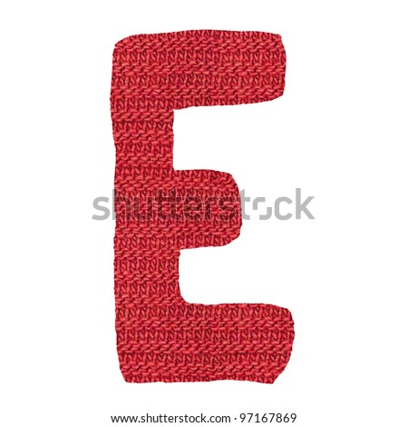 letter E alphabet, knitted spokes structure - stock photo