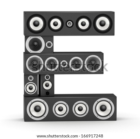 Letter E from black hi-fi speakers sound systems - stock photo