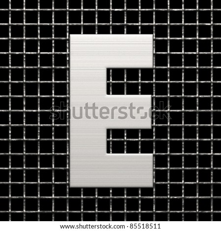Letter E from metal net alphabet. There is a clipping path