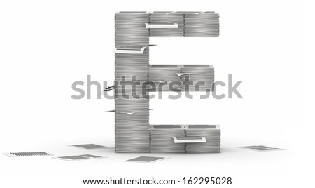 Letter E, from stacks of paper pages font - stock photo