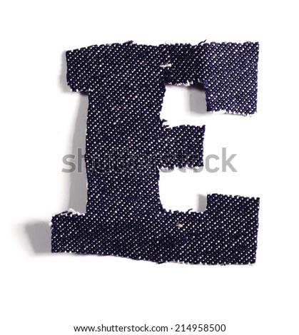Letter E. Jeans alphabet Isolated on White. Handmade font. - stock photo