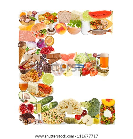Letter E made of food isolated on white background