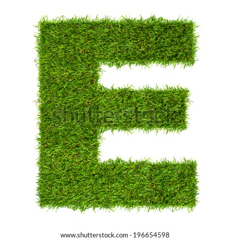 Letter E made of green grass isolated on white - stock photo