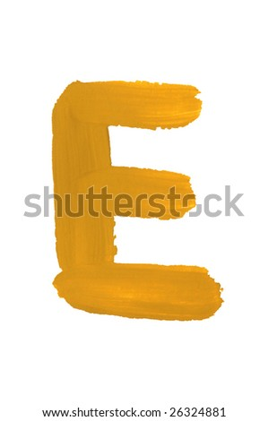 Letter E painted on the white background