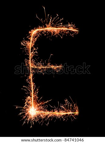 Letter E. Real sparkler alphabet - stock photo