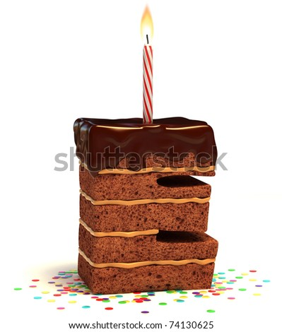 letter E shaped chocolate birthday cake with lit candle and confetti isolated over white background 3d illustration