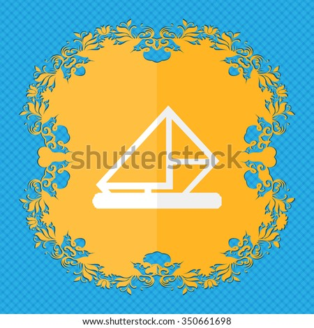 letter, envelope, mail. Floral flat design on a blue abstract background with place for your text. illustration - stock photo