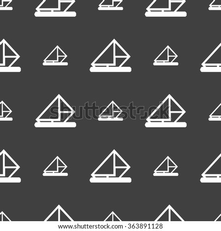 letter, envelope, mail icon sign. Seamless pattern on a gray background. illustration - stock photo