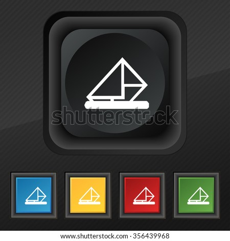 letter, envelope, mail icon symbol. Set of five colorful, stylish buttons on black texture for your design. illustration - stock photo