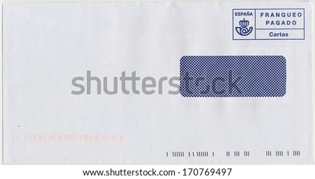 letter envelope with blue ink postage meter from Spain - franqueo pagado (postage paid) - cartas (paper, letters)