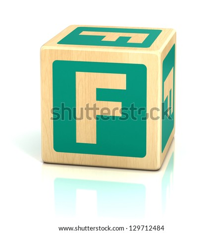 letter f alphabet cubes font - stock photo