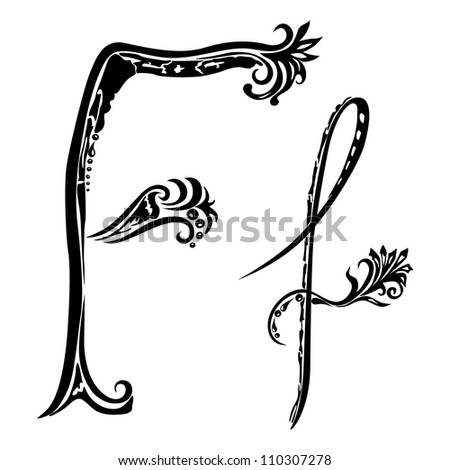 Letter F f in the style of abstract floral pattern on a white background - stock photo