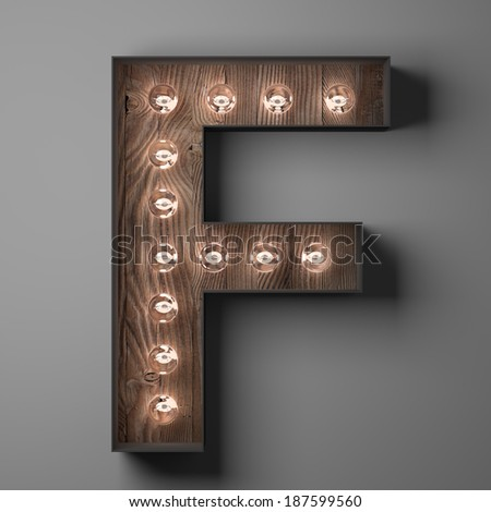 Letter F for sign with light bulbs - stock photo