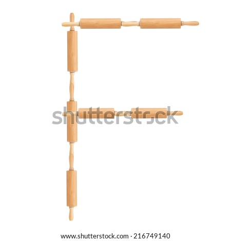 Letter F formed from the rolling pins on a white background