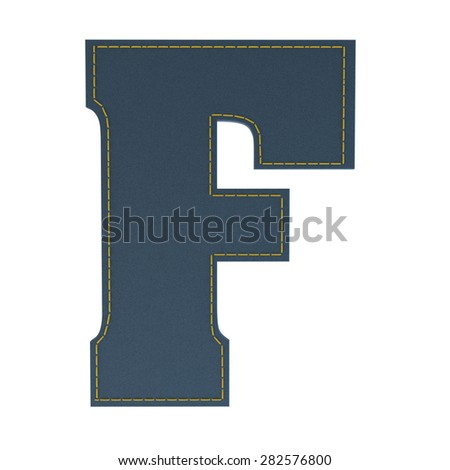 letter F from denim - jeans, on a white background, high specification of fabric, it is stitched by the yellow high-detailed threads - stock photo