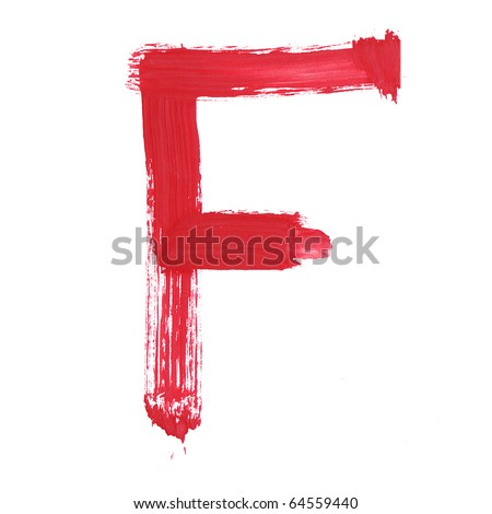 Letter F handwritten paint stroke sketch. Red Isolated on white background. One from collection set.