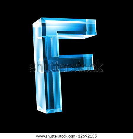 letter F in blue glass 3D