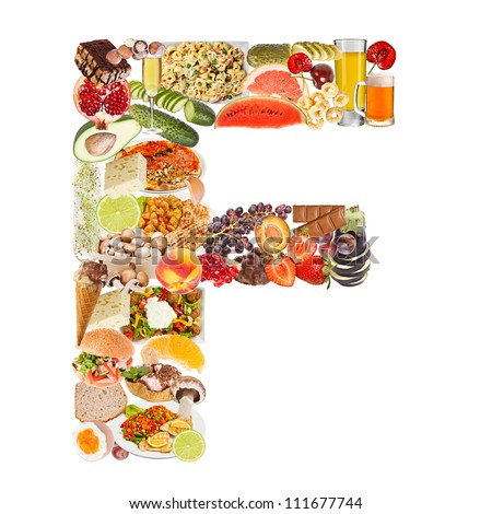 Letter F made of food isolated on white background