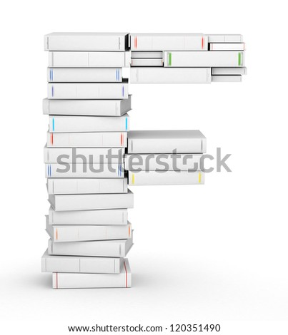 Letter F, stacked from many blank title books in column - stock photo
