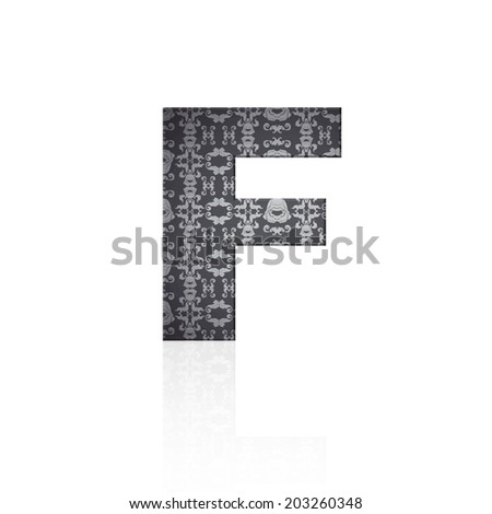 Letter F with vintage effect over white background