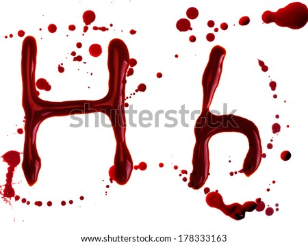 Letter from bloody alphabet isolated on white