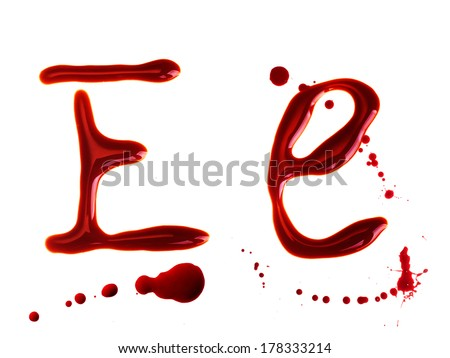 Letter from bloody alphabet isolated on white - stock photo