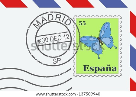 Letter from Spain - postage stamp and post mark from Madrid. Spanish mail. - stock photo