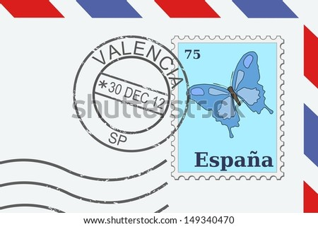 Letter from Spain - postage stamp and post mark from Valencia. Spanish mail. - stock photo