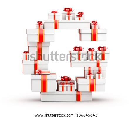 Letter G boxes of gifts decorated with red ribbons