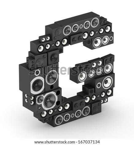 Letter G from black hi-fi speakers sound systems  in isometry - stock photo