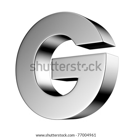 Letter G from chrome solid alphabet. There is a clipping path - stock photo