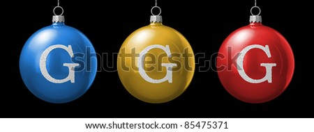 Letter G from cristmas ball alphabet. There is a clipping path - stock photo