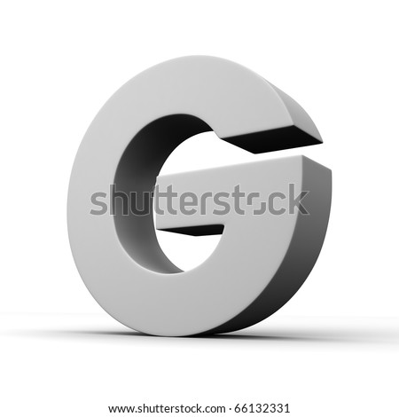 Letter G from solid alphabet. There is a clipping path