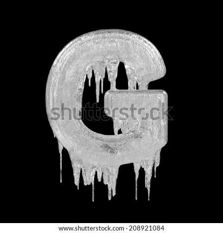 Letter G. Ice font isolated on black background. Alphabet. - stock photo