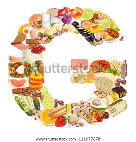 Letter G made of food isolated on white background