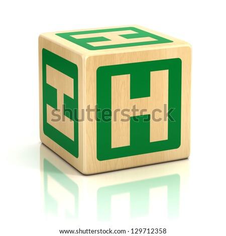 letter h alphabet cubes font - stock photo