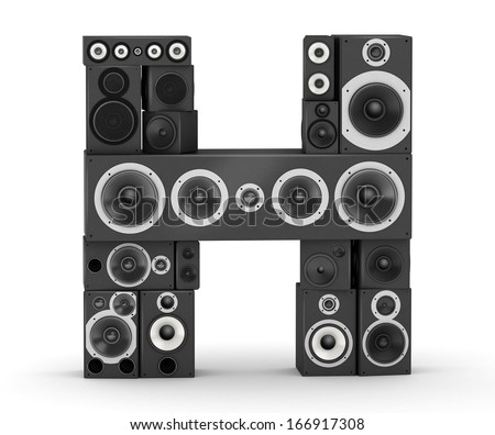 Letter H from black hi-fi speakers sound systems - stock photo
