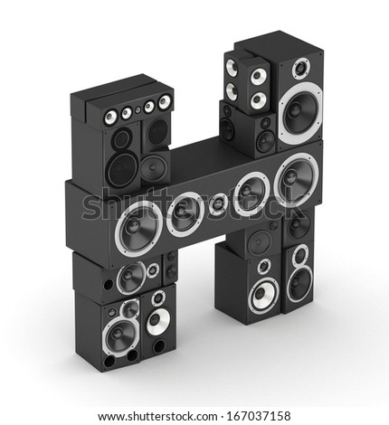 Letter H from black hi-fi speakers sound systems  in isometry - stock photo
