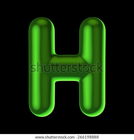 Letter H from round green back light alphabet. There is a clipping path