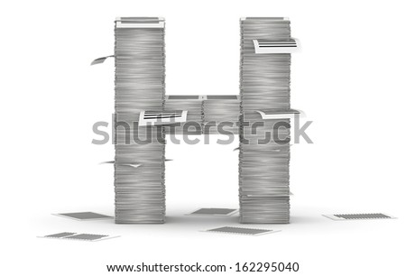 Letter H, from stacks of paper pages font - stock photo