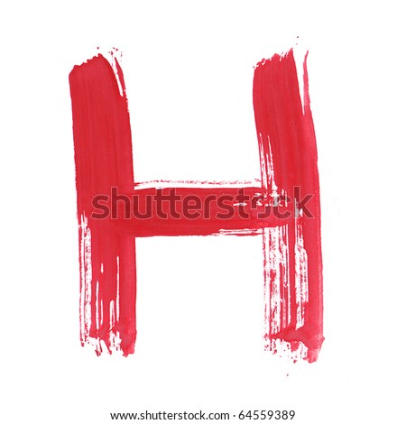 Letter H handwritten paint stroke sketch. Red Isolated on white background. One from collection set.