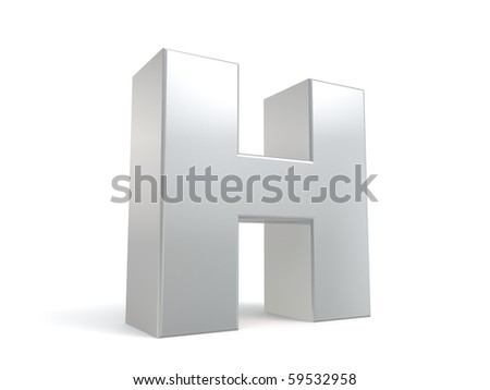 letter H in metal - stock photo