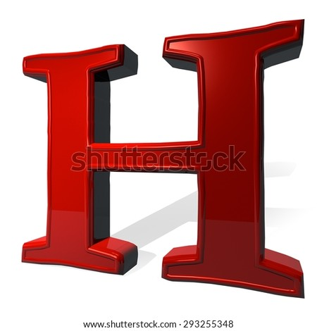 Letter H in red over white background, with shadow, 3d render - stock photo