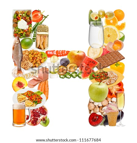 Letter H made of food isolated on white background - stock photo