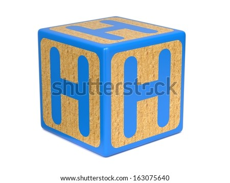 Letter H on Blue Wooden Childrens Alphabet Block  Isolated on White. Educational Concept. - stock photo