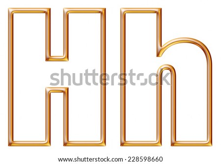 Letter H with golden glossy outline on isolated white. - stock photo