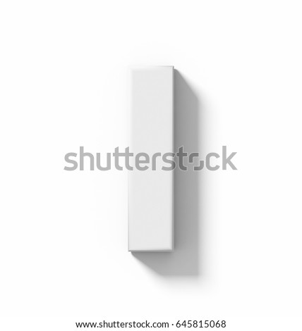 letter I 3D white isolated on white with shadow - orthogonal projection - 3d rendering