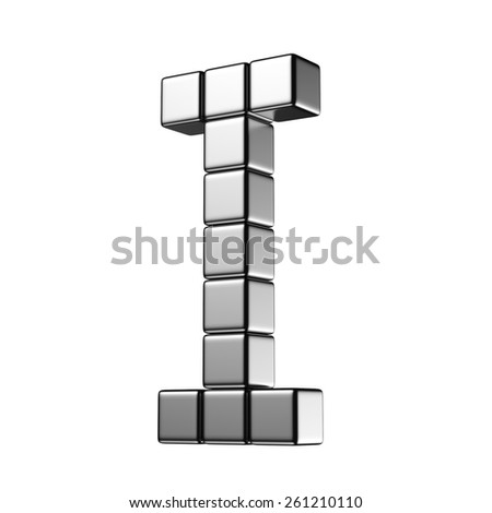 Letter I from digital cube middle perspective alphabet. There is a clipping path - stock photo