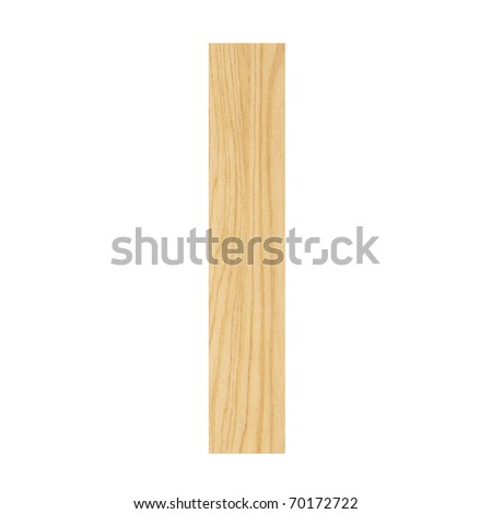 Letter I from wood board alphabet. There is a clipping path - stock photo